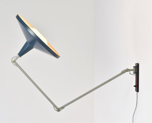 Early blue 'Panama' lamp by Wim Rietveld for Gispen, The Netherlands 1955