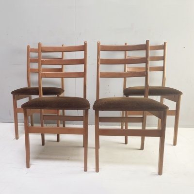 Set of four 1970's mid century dining chairs