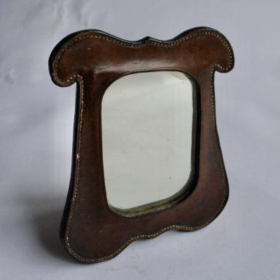 Leather Framed Campaign Mirror, 1920s