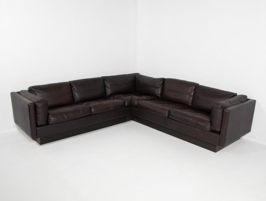 Danish design brown leather corner sofa from 'Thams', 1970's