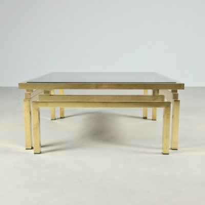 Brass & smoked glass coffee table by Romeo Rega, 1970s