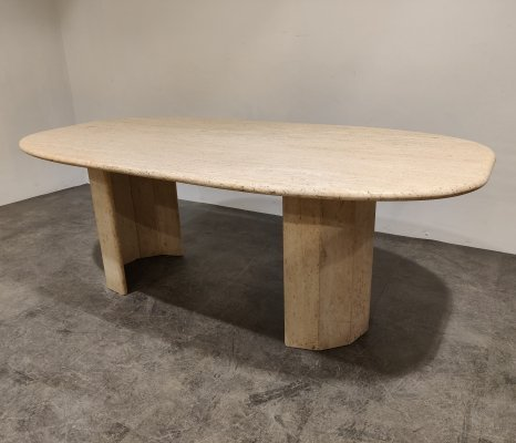 Vintage travertine dining table, 1970s