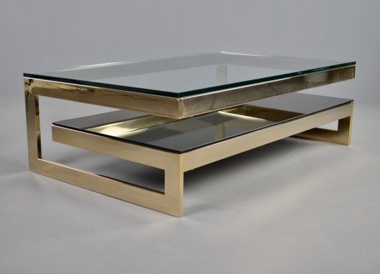 Hollywood regency Belgo Chrom 23kt gold 2-tier G-table, 1980s