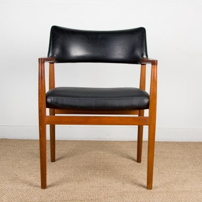 Danish Teak & leatherette Model 43 Desk Chair by Erik Kirkegaard