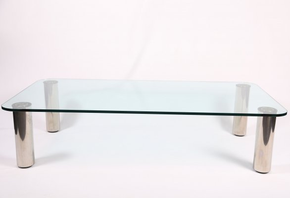 'Marcuso' table in glass & Chrome by Marco Zanuso for Zanotta, c1965