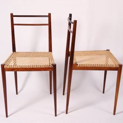 Rare Pair of Italian Rosewood & Cane Dining chairs by Tito Agnoli for La Linia