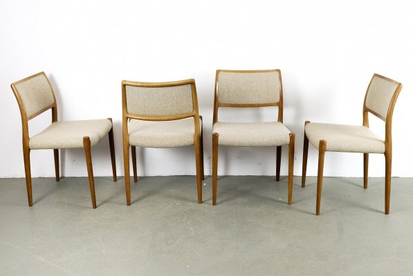 Set of 4 Model 80 Teak Dining Chairs by Niels O. Møller