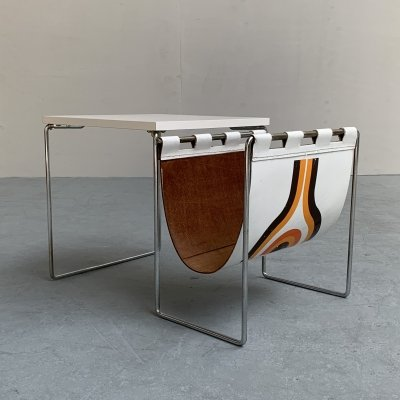Brabantia side table with leather magazine holder, Netherlands 1970s