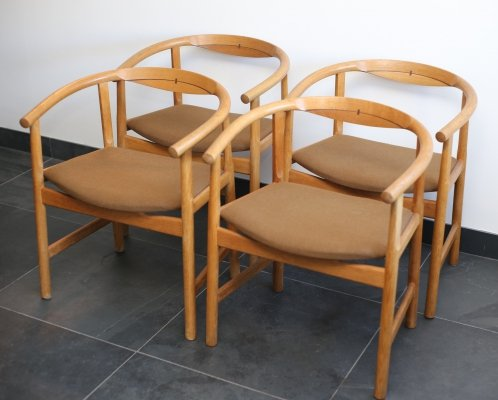 4 x PP203 Oak Dining Chair with Wenge Inlay by Hans Wegner for PP Møbler, 1960s