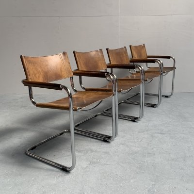 Set of 4 dining chairs S34 by Mart Stam for Fasem, Italy 1980s