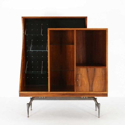 Italian cabinet in rosewood & glass shelves, 1960s