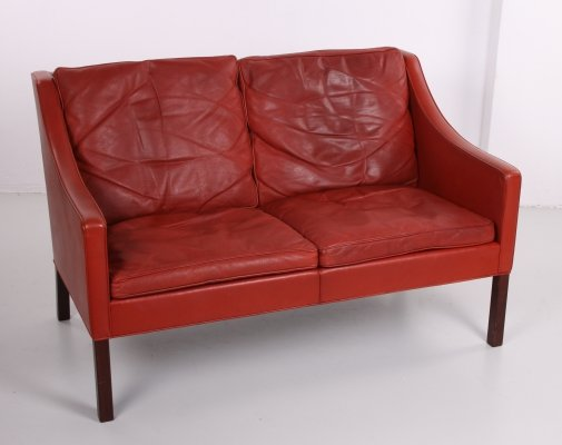 Borge Mogensen Leather two-seater sofa by Fredericia, 1960s