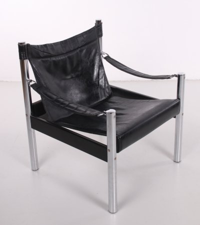 Chrome & Black leather relax chair by Johanson Sweden, 1960s