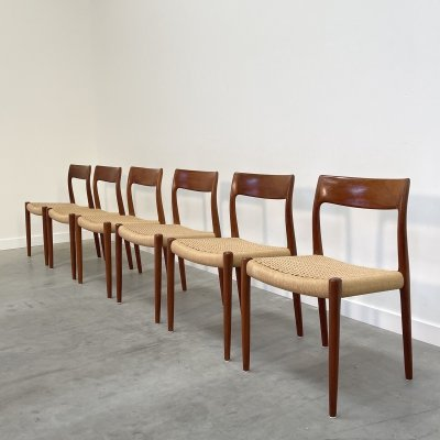 Set of 6 'Model 77' Niels Otto Møller dining chairs, 1960s