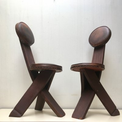 Set of two Dutch stools by AGWO, 1930's