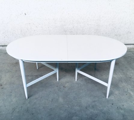 Belgian Design 1970's White Extendable Dining Table