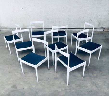 Set of 9 Belgian Design 1970's White Dining Chairs