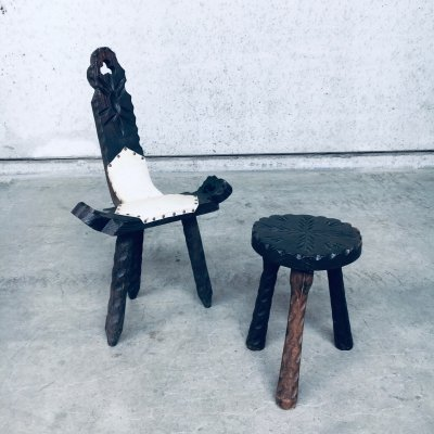1960's Spanish Brutalist Wooden Tripod Chair & Stool