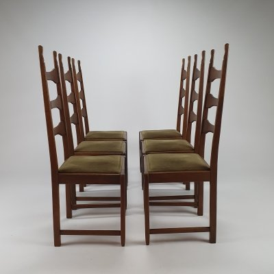 Set of 6 Mid Century French Modernist Oak Dining Chairs, 1950s