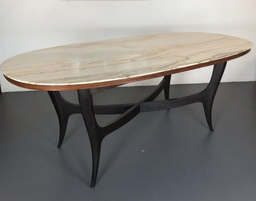 Vintage Italian wood & white marble oval dining table, 1950s