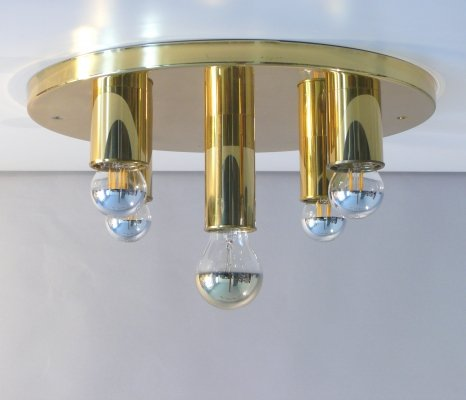 TZ space age ceiling lamp in brass, 1970s