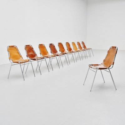 Les Arcs dining chairs selected by Charlotte Perriand, France 1960