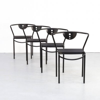Set of 4 Giandomenico Belotti 'spaghetti' dining chairs for Fly Line, 1970s