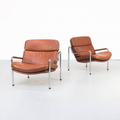 Pair of Jørgen Kastholm lounge chairs for Kusch & Co, 1970s