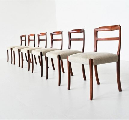 Ole Wanscher set of six rosewood dining chairs by A.J. Iversen, Denmark 1960