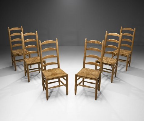 Six Oak & Straw Rustic Dining Chairs, The Netherlands 1950s