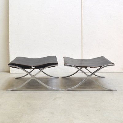 Rare early Barcelona stools by Mies van der Rohe for Knoll, 1950s