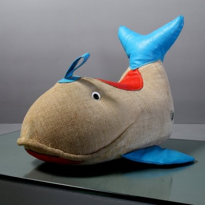 Jute & leather Therapeutic toy 'Whale' by Renate Müller, 1970s