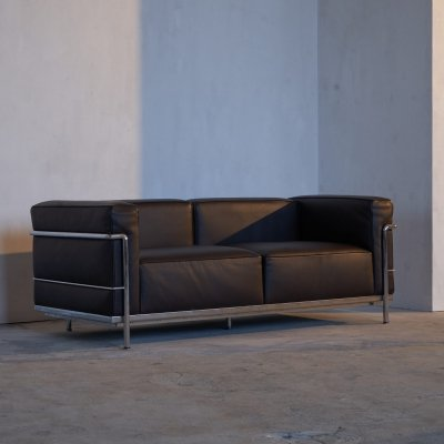 Le Corbusier, Jeanneret & Perriand Cassina LC3 Sofa in Brown Leather, 1990s