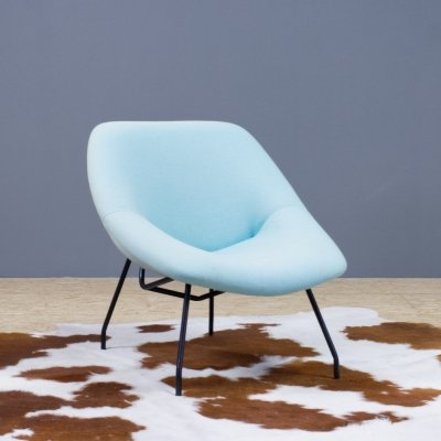 Italian vintage lounge chair with black metal frame & light blue upholstery