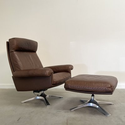 DS31 De Sede lounge chair with hocker, 1970s