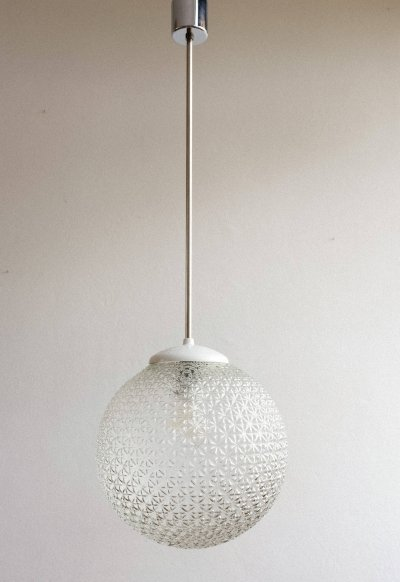 White bakelite & glass pendant lamp, 1960s