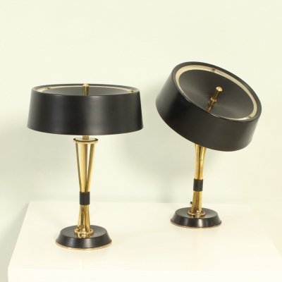 Pair of Adjustable Table Lamps by Oscar Torlasco for Lumi, Italy