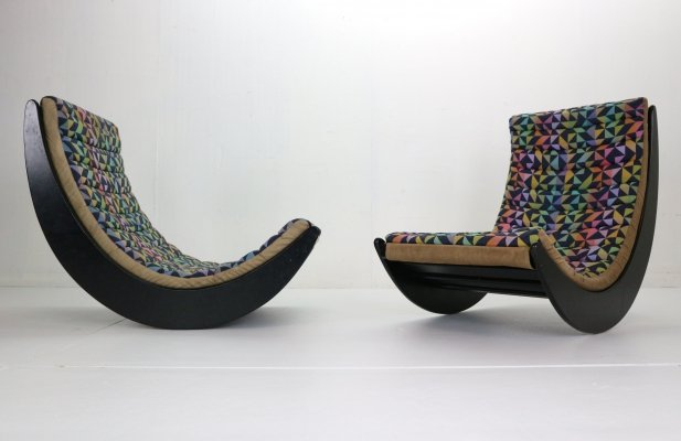Verner Panton set of 2 'Relaxer 2' Rocking Chairs by Rosenthal, 1970s