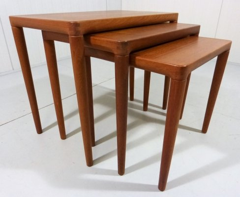 Teak nesting tables by Bramin, Denmark 1960's