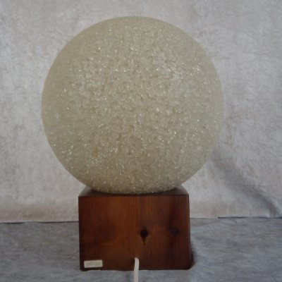 Midcentury table lamp with crushed ice globe by Biab, Sweden 1960's