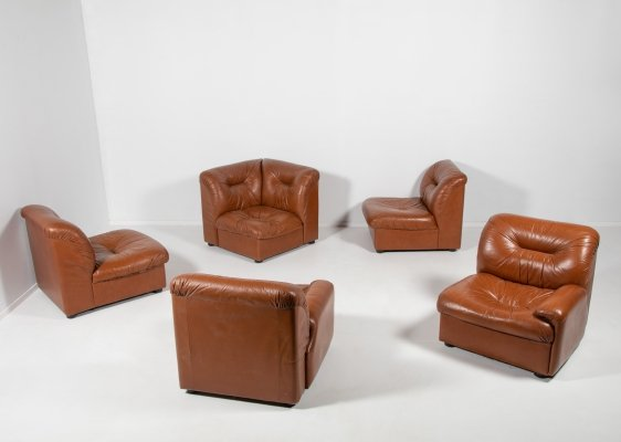 Five vintage brown leather modular seats from Walter Knoll Collection