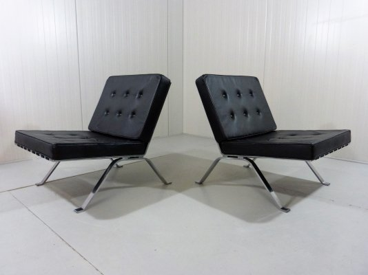 Set of 2 leather & solid inox lounge chairs, 1960's