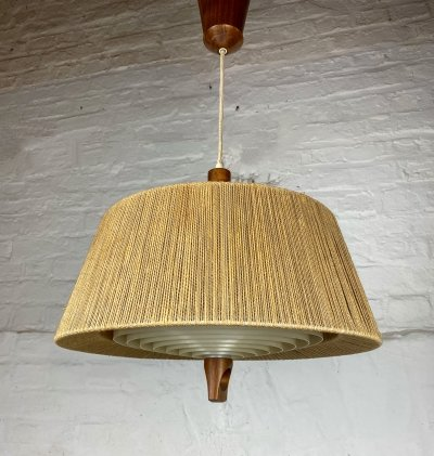 Height adjustable Raffia hanging lamp by Temde, 1960s