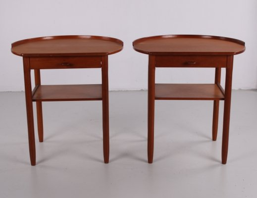 Pair of vintage Roundtop side tables by Engström & Myrstrand for Bodafors, Sweden