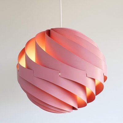 Pink Turbo Pendant light by Louis Weisdorf for LYFA, Denmark 60s