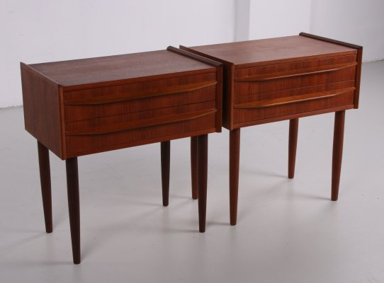 Set of teak Danish bedside tables with two drawers, 1960s