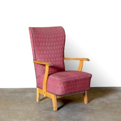 Vintage red armchair with high back, 1950s