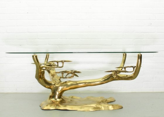Bonsai Brass & Glass Coffee Table by Willy Daro, 1970s