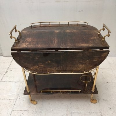 Goatskin bar cart from Aldo Tura, 1950's