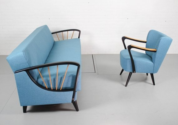 Vintage seating group with black frame & birch details, 1950s